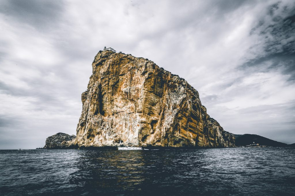 A rock and an island